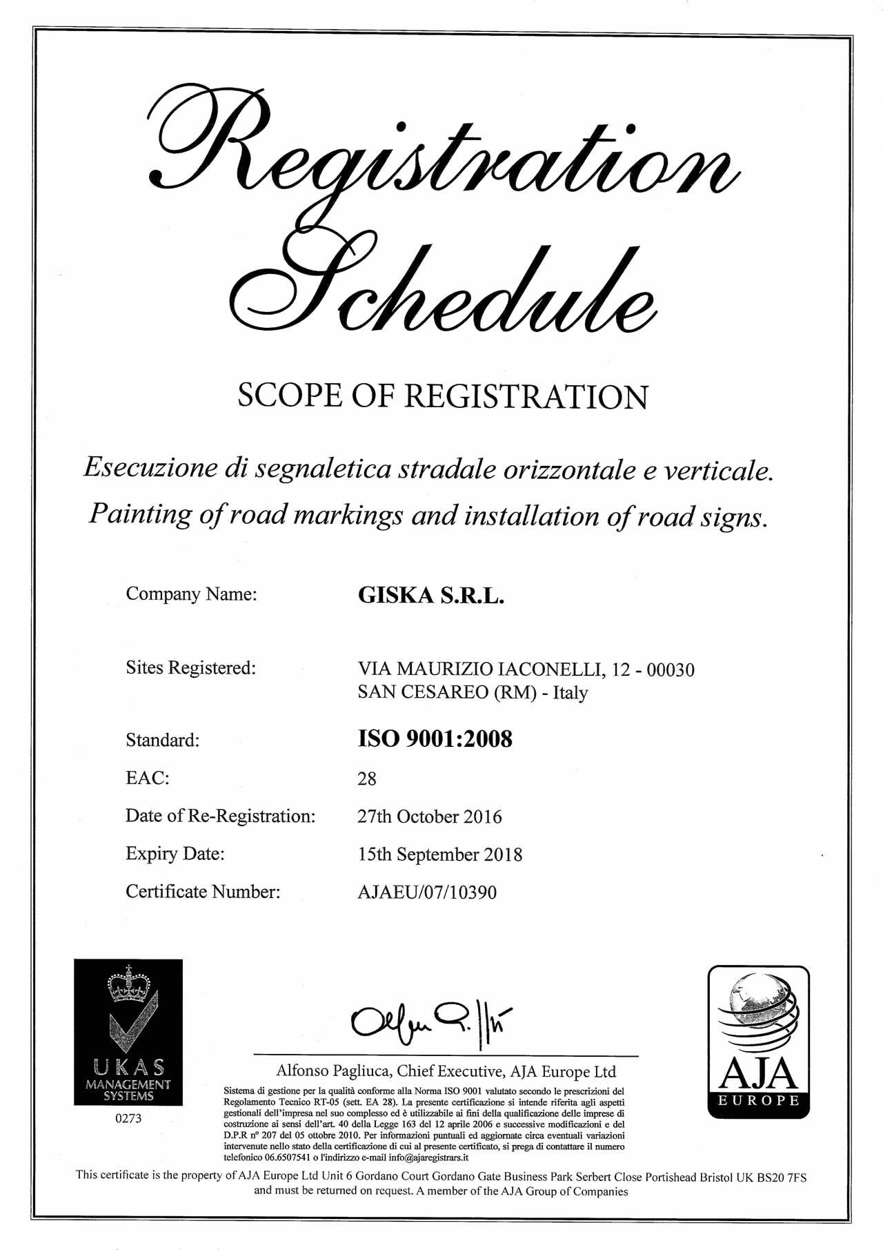 Certificato ISO 9001.2008